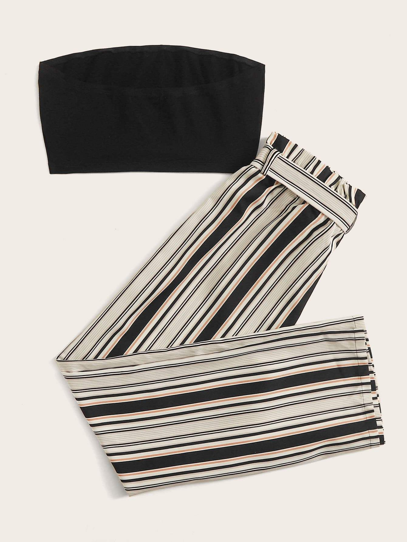 Bandeau Top and Belted Striped Wide-Leg Pants Set - FLJ CORPORATIONS
