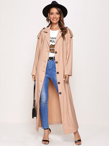 Drop Shoulder Single Breasted Trench Coat - FLJ CORPORATIONS