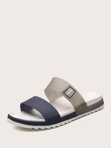 Men Open Toe Colorblock Sliders - FLJ CORPORATIONS