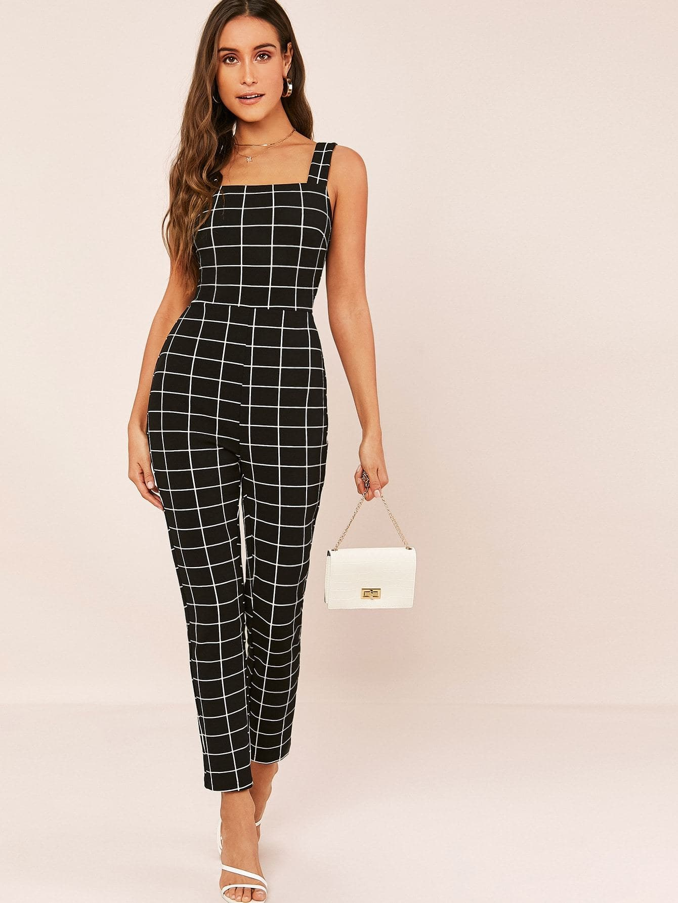 Square Neck Grid Tank Jumpsuit - FLJ CORPORATIONS