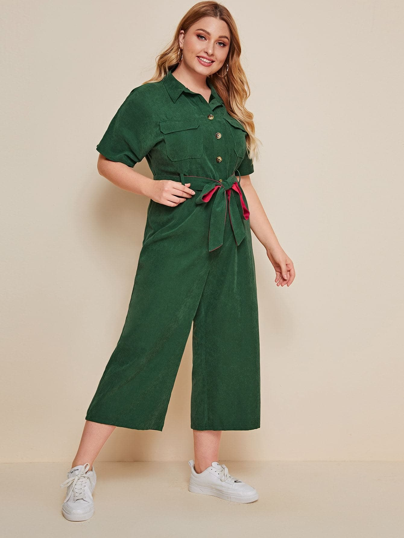 Plus Flap Pocket Belted Cropped Jumpsuit - FLJ CORPORATIONS