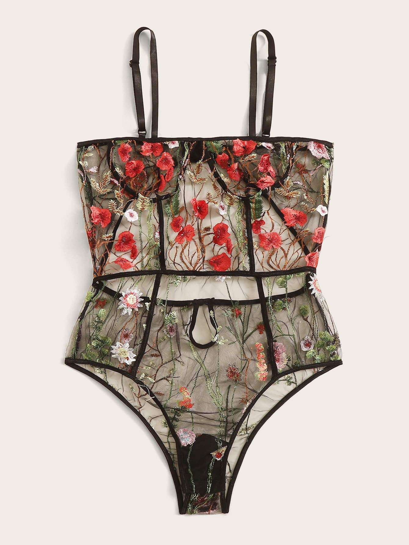 Plus Floral Embroidery Mesh Teddy Bodysuit - FLJ CORPORATIONS