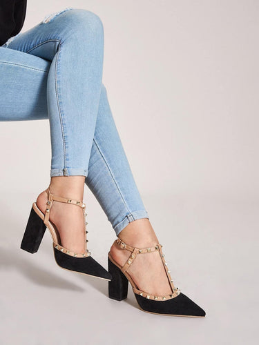 Spiked Decor Point Toe T-strap Chunky Heels - FLJ CORPORATIONS