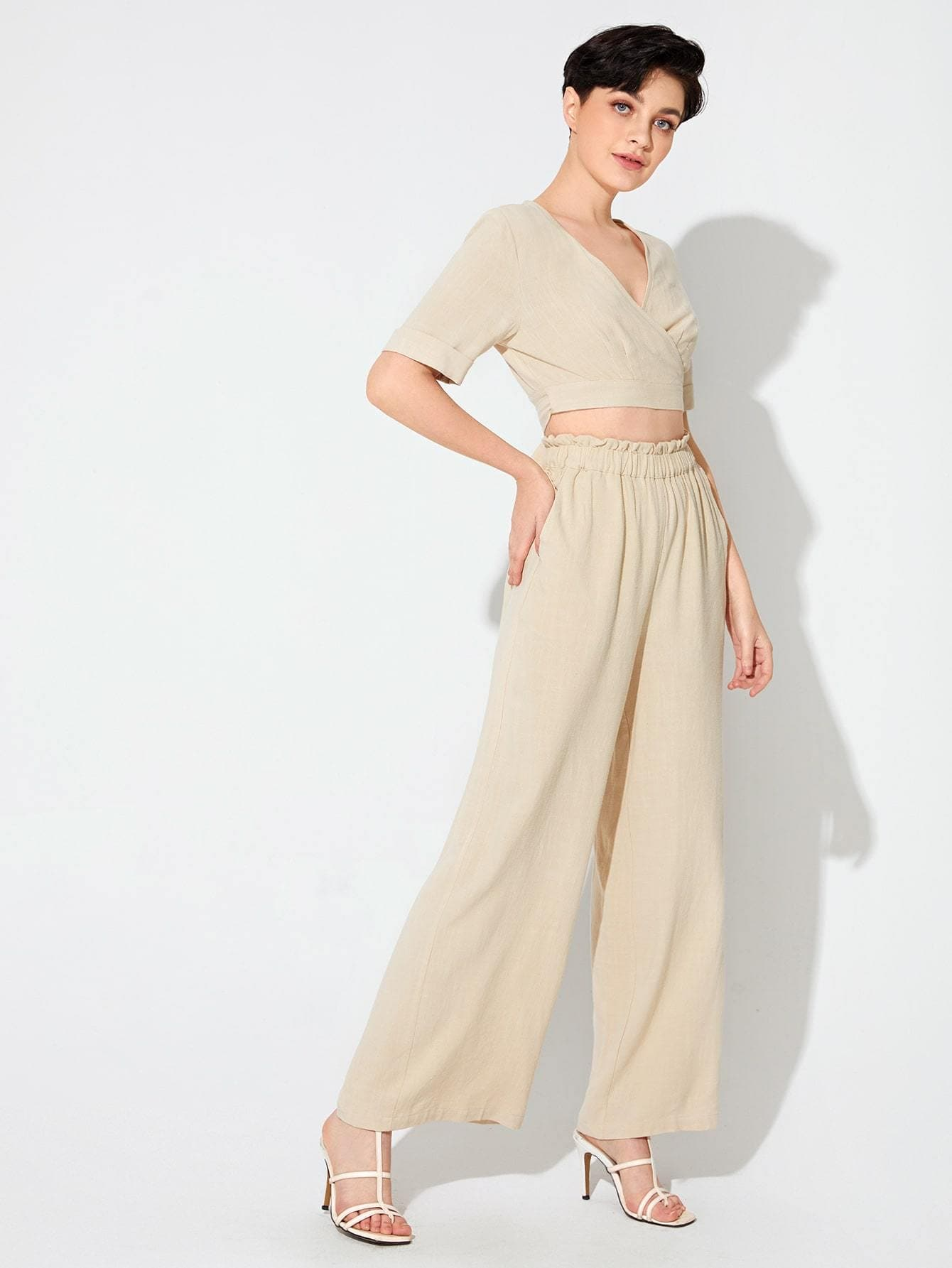 Premium Tie Back Top and Paperbag Waist Pants Set - FLJ CORPORATIONS