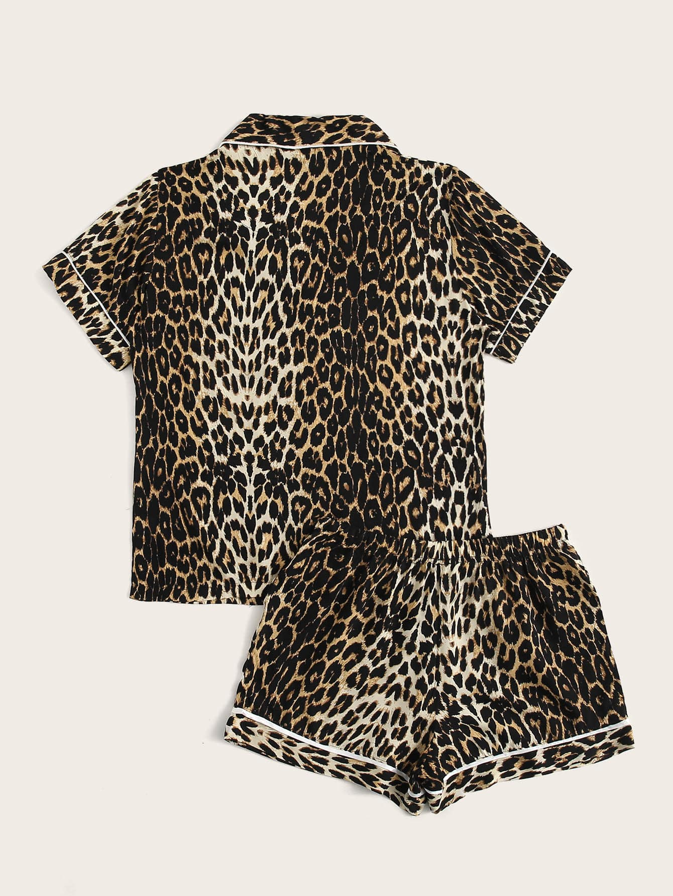 Leopard Print Drawstring Waist PJ Set - FLJ CORPORATIONS