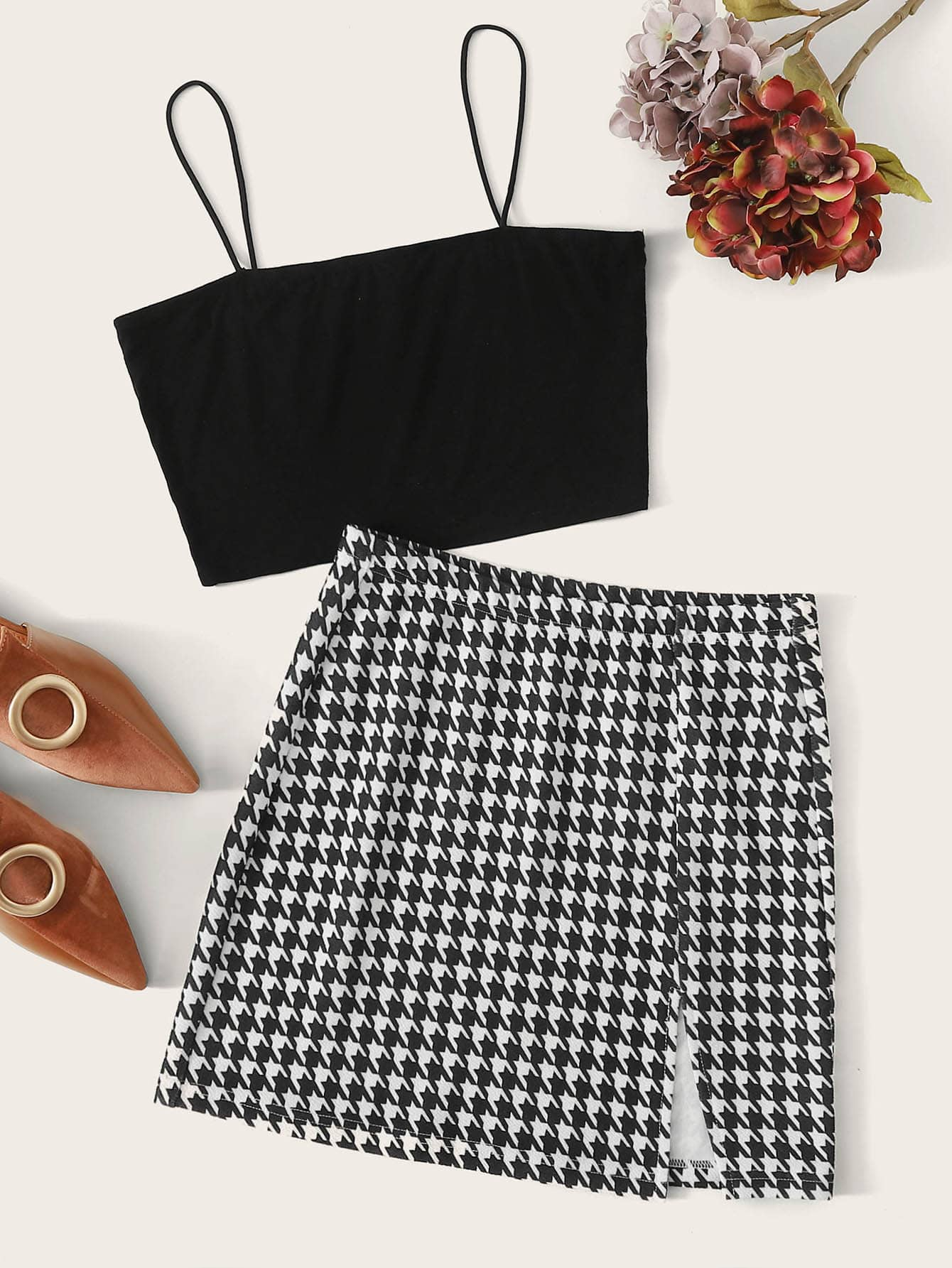 Solid Crop Cami Top & Houndstooth Split Skirt Set - FLJ CORPORATIONS