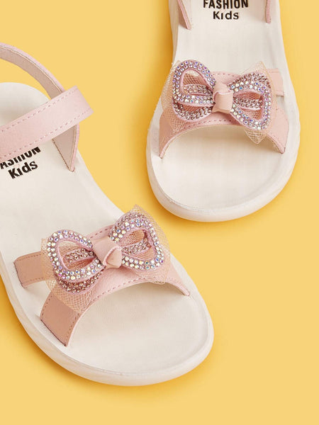 Girls Rhinestone Bow Decor Velcro Strap Flat Sandals - FLJ CORPORATIONS