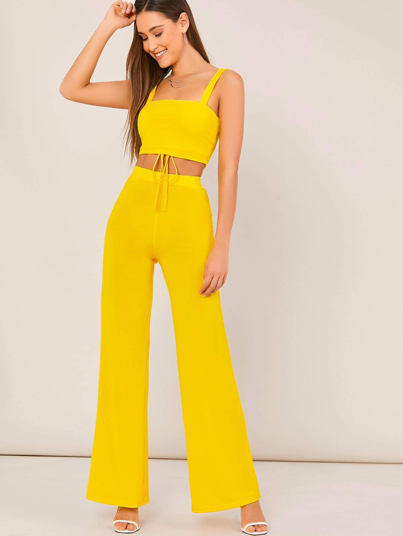 Knot Back Crop Top & Flare Leg Pants Set - FLJ CORPORATIONS