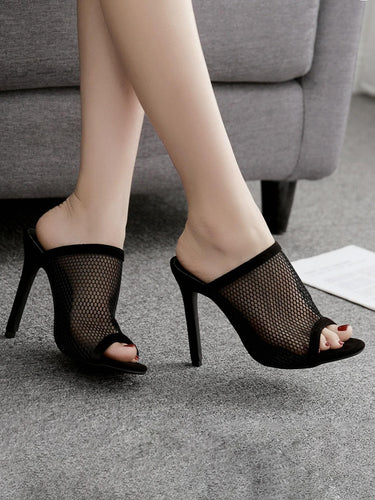 Peep Toe Mesh Stiletto Heeled Mules - FLJ CORPORATIONS