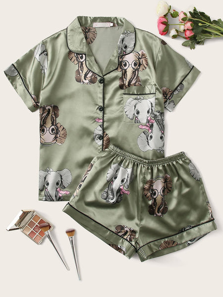 Elephant Print Pocket Front Satin PJ Set - FLJ CORPORATIONS