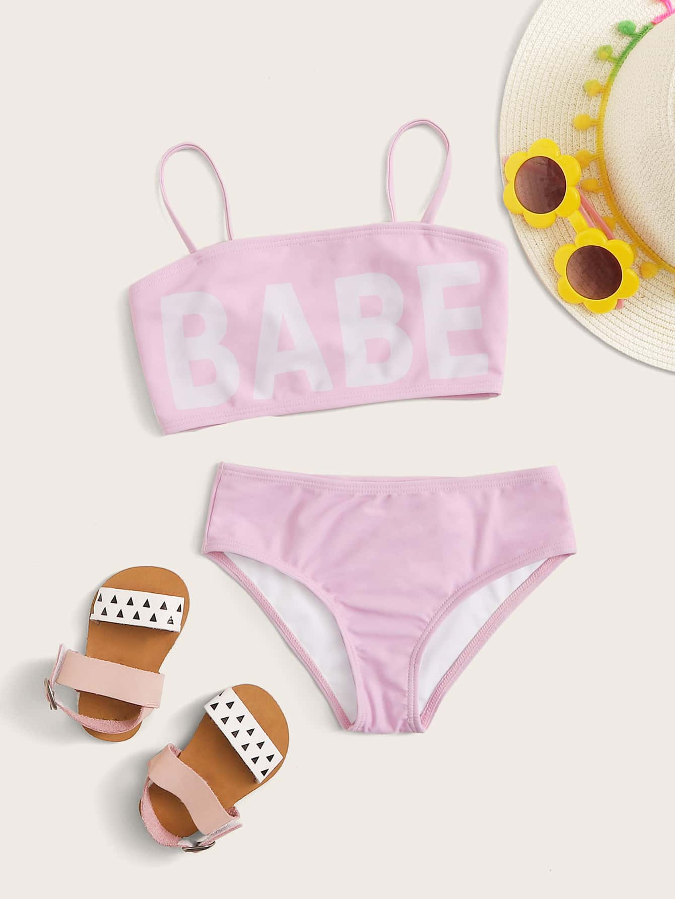 Toddler Girls Letter Graphic Bikini Set - FLJ CORPORATIONS