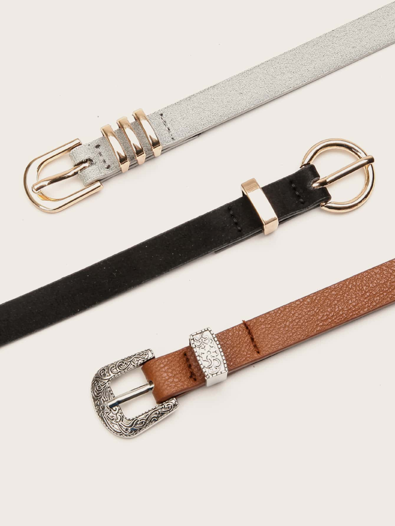 3pcs Rivet Decor Western Buckle Belt - FLJ CORPORATIONS