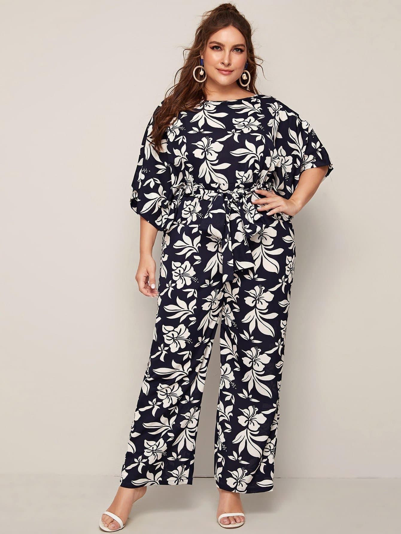Plus Botanical Print Batwing Sleeve Self Belted Jumpsuit - FLJ CORPORATIONS