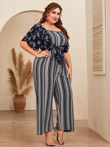 Plus Double Square Neck Shirred Back Tie Front Palazzo Jumpsuit