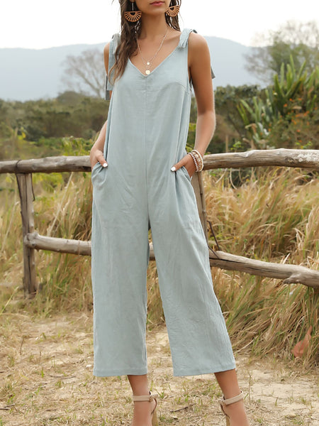 V Back Knotted Slant Pocket Jumpsuit - FLJ CORPORATIONS