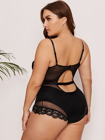 Plus Contrast Lace Mesh Teddy Bodysuit