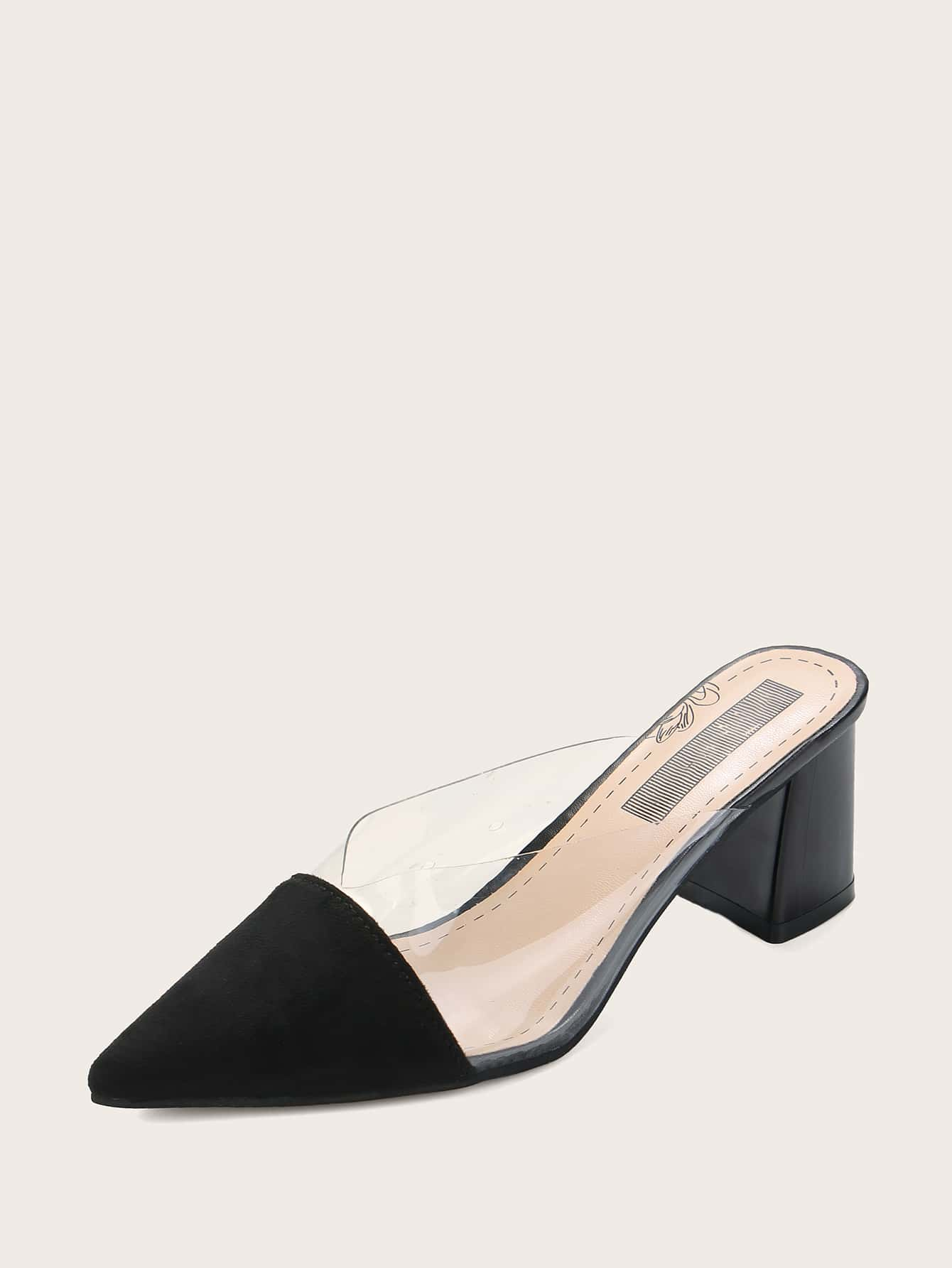 Transparent Point Toe Chunky Heeled Mules - FLJ CORPORATIONS