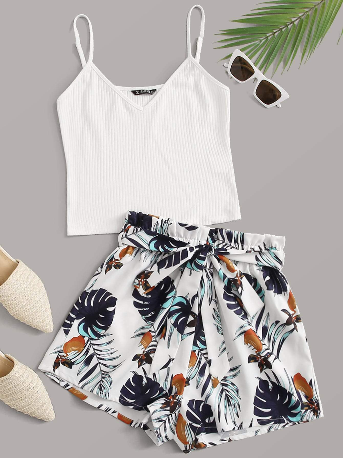 Rib-knit Cami Top & Belted Jungle Leaf Shorts Set - FLJ CORPORATIONS