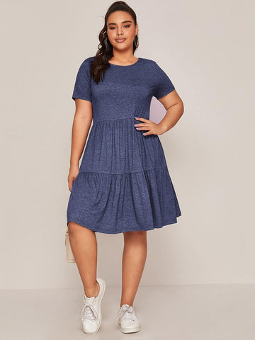 Plus Marled Knit Smock Dress - FLJ CORPORATIONS