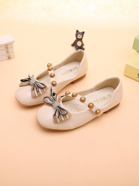 Girls Rhinestone Bow & Studded Decor Flats - FLJ CORPORATIONS
