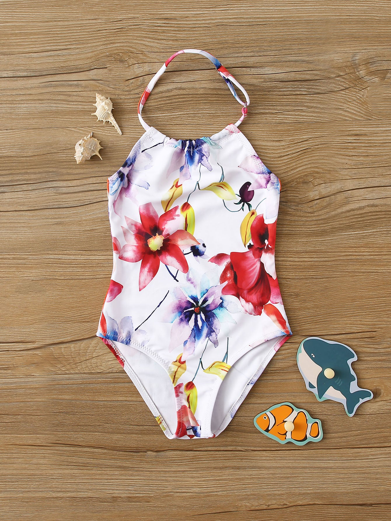 Toddler Girls Floral Halter One Piece Swimwear - FLJ CORPORATIONS