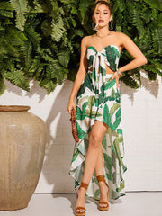 Tie Front Tropical Print Tube Top & Asymmetrical Skirt Set - FLJ CORPORATIONS