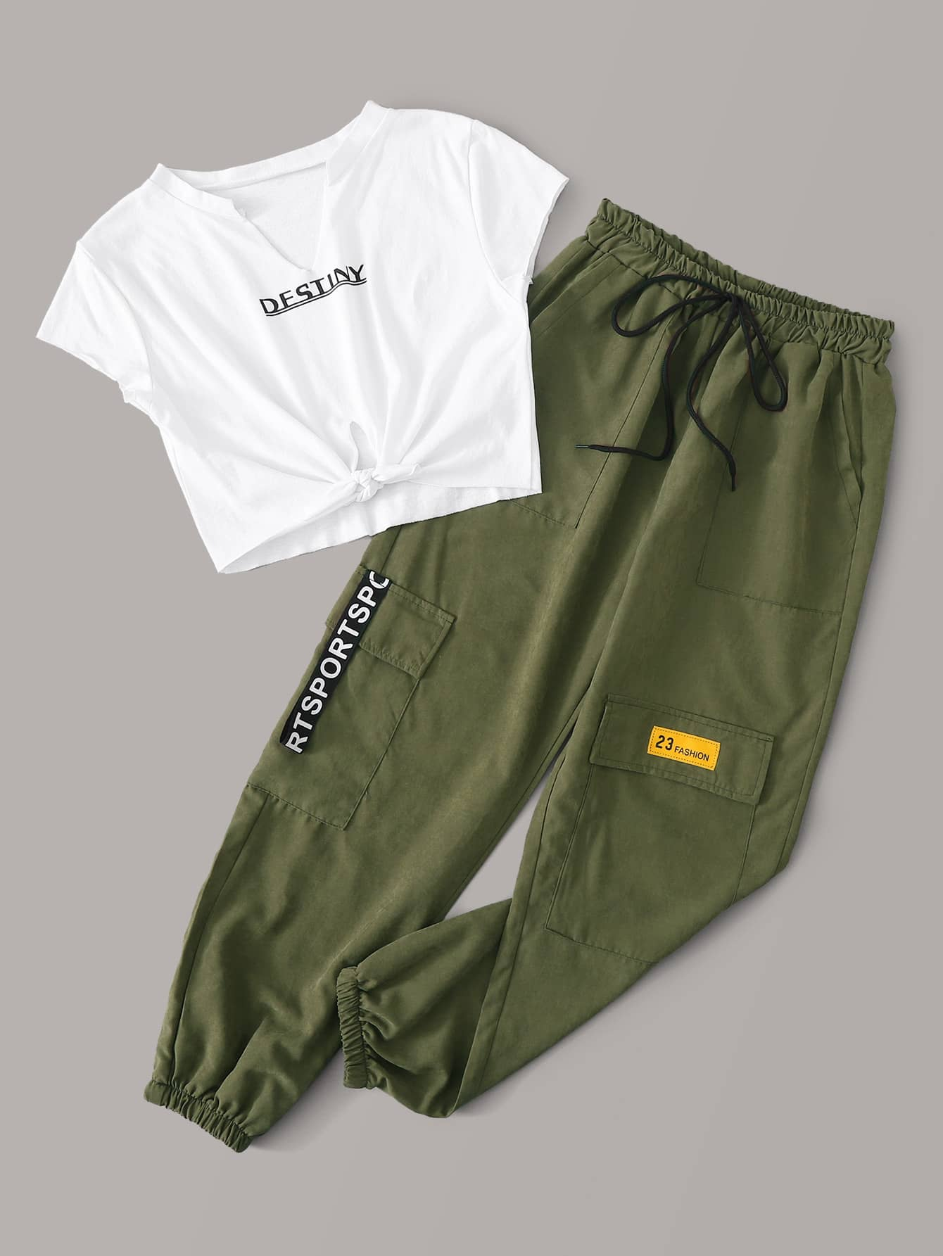 Letter Graphic Knot Hem Tee With Cargo Pants - FLJ CORPORATIONS