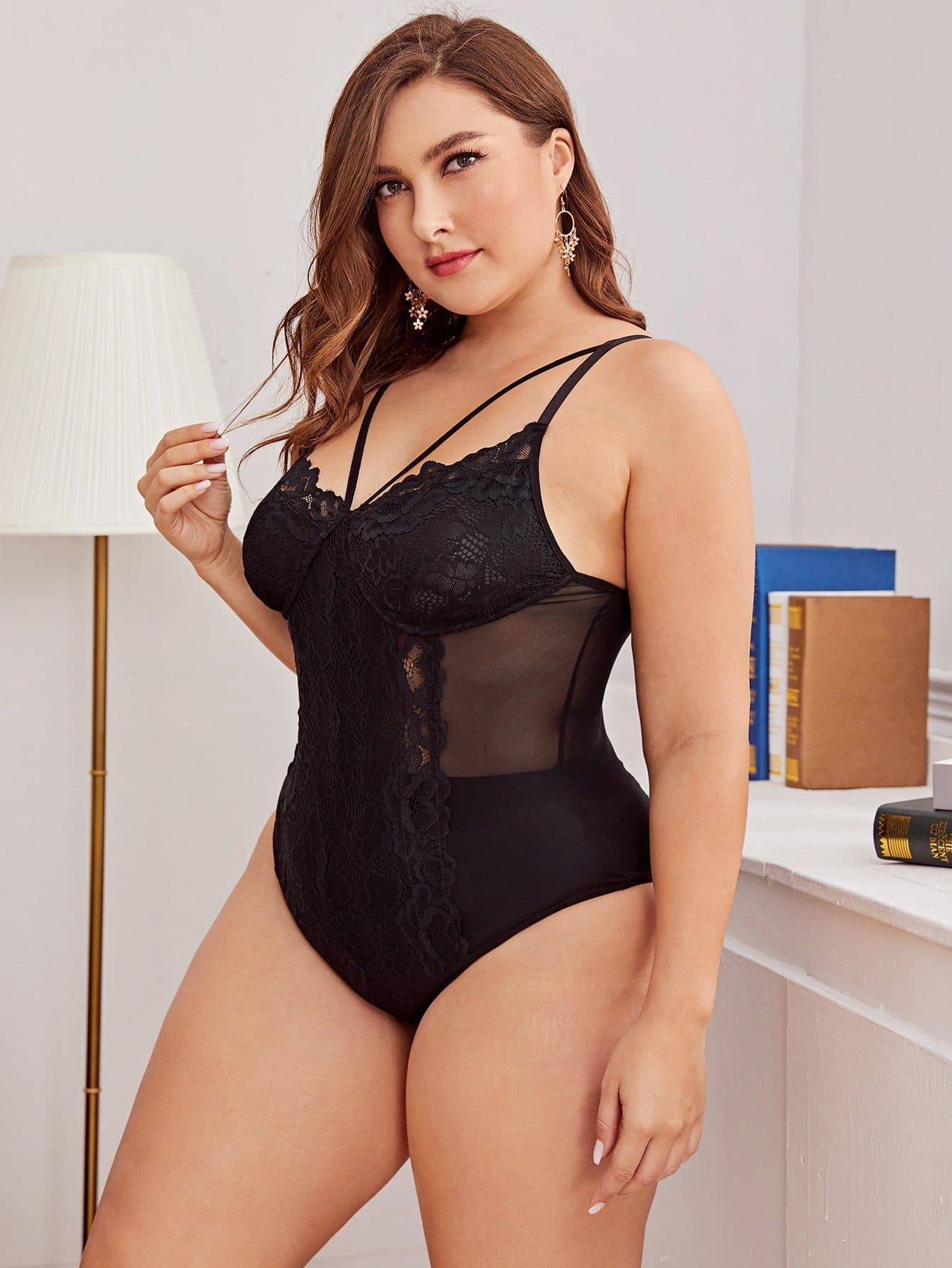 Plus Floral Lace Harness Teddy Bodysuit - FLJ CORPORATIONS