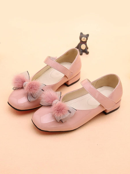 Girls Fluffy Bow Decor Flats - FLJ CORPORATIONS