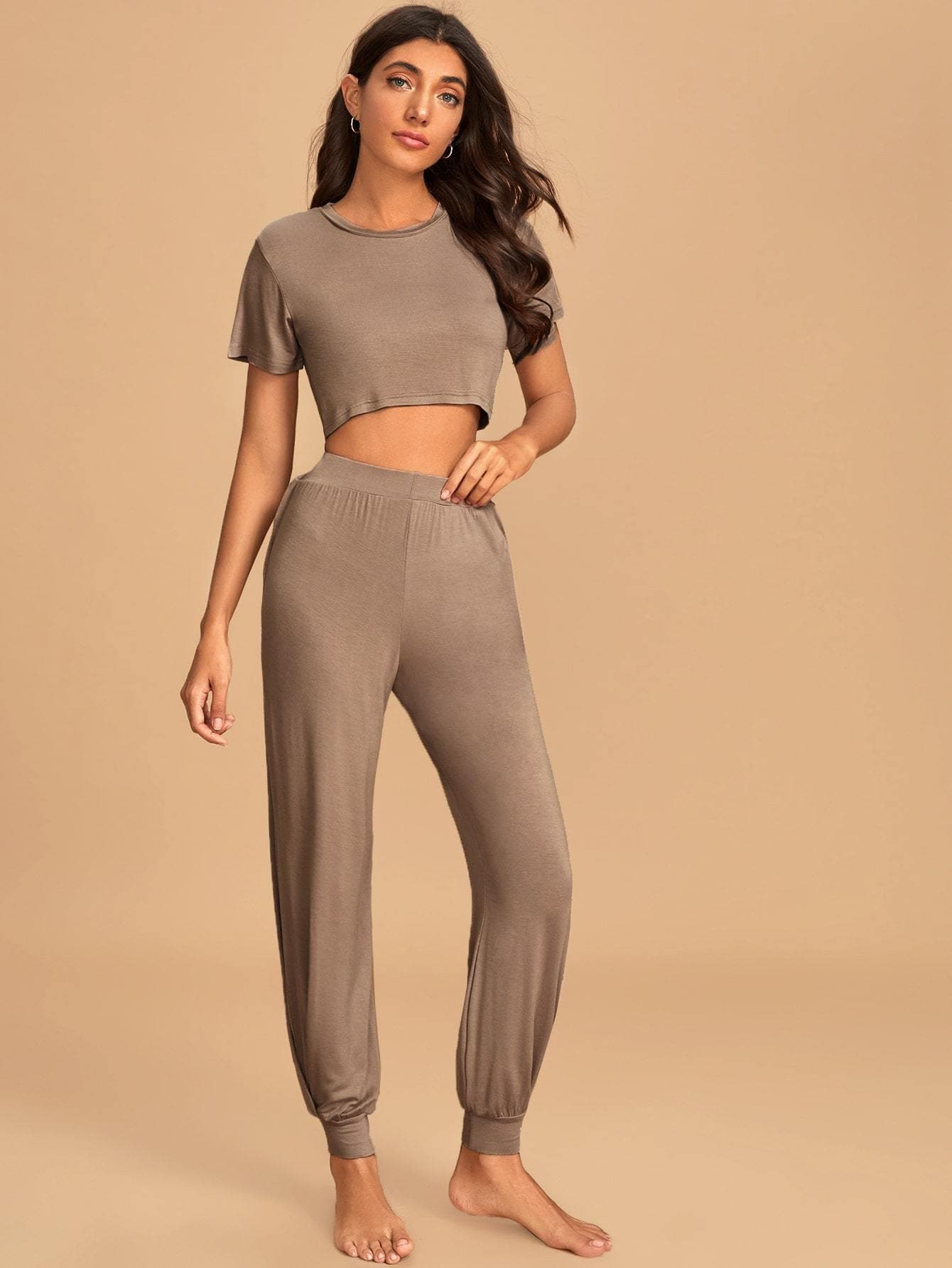 Solid Crop Tee & Pants Modal PJ Set - FLJ CORPORATIONS