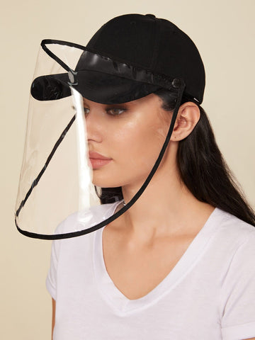 Solid Baseball Cap With Detachable Face Shield - FLJ CORPORATIONS
