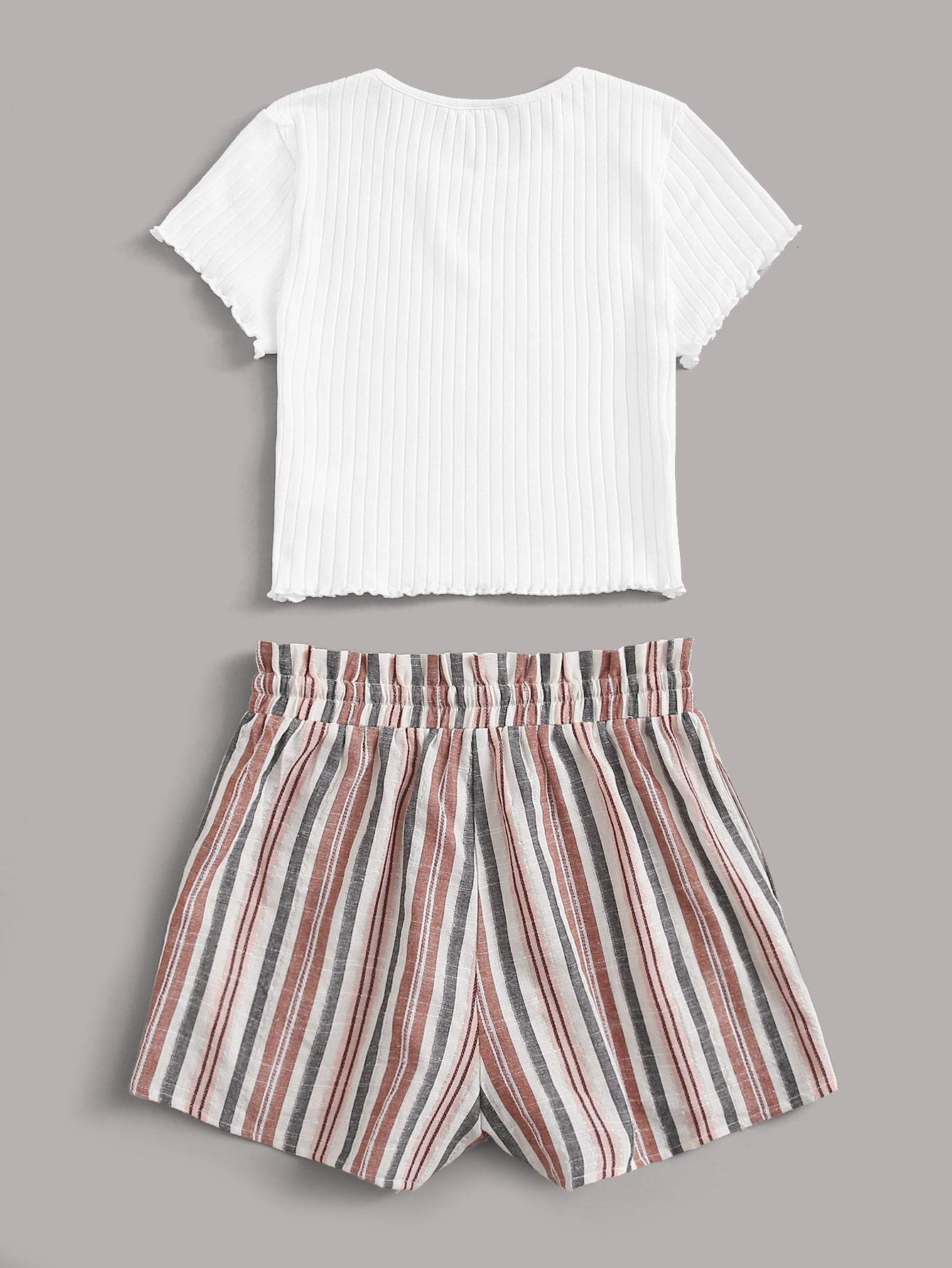Lettuce Edge Tee and Paperbag Waist Striped Shorts Set - FLJ CORPORATIONS
