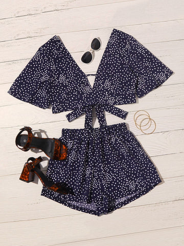 Polka Dot Print Tie Front Top & Shorts Set - FLJ CORPORATIONS