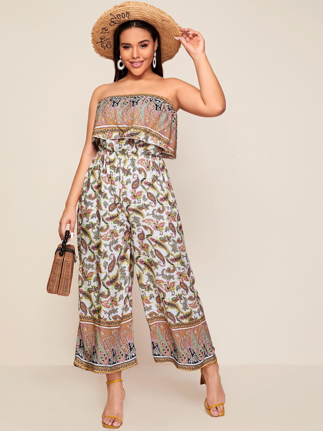 Plus Foldover Ruffle Paisley Print Tube Jumpsuit - FLJ CORPORATIONS