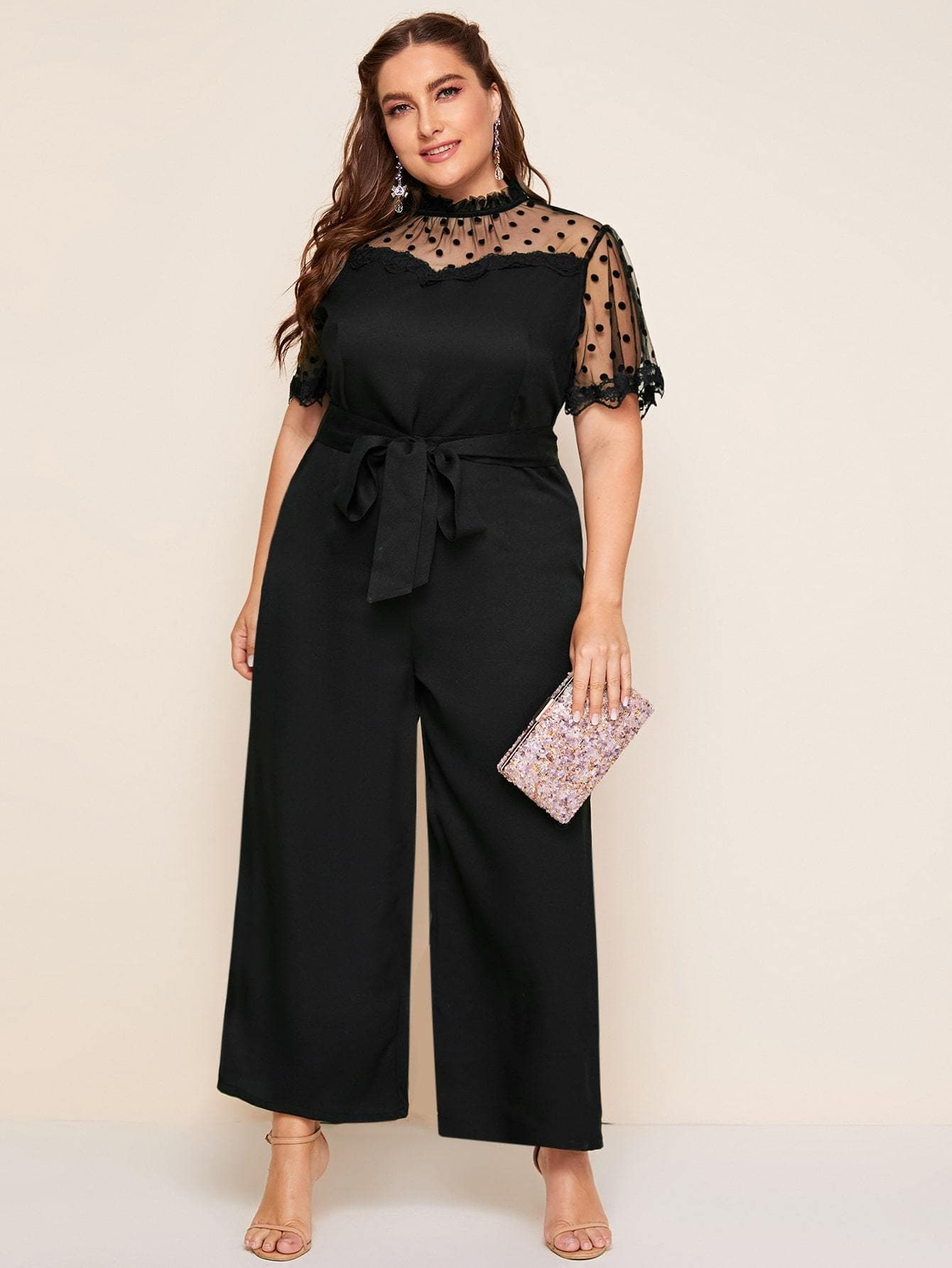 Plus Frilled Neck Dot Flocked Mesh Yoke Belted Jumpsuit - FLJ CORPORATIONS