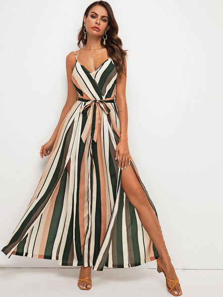 Surplice Neck M-slit Thigh Belted Striped Palazzo Jumpsuit - FLJ CORPORATIONS