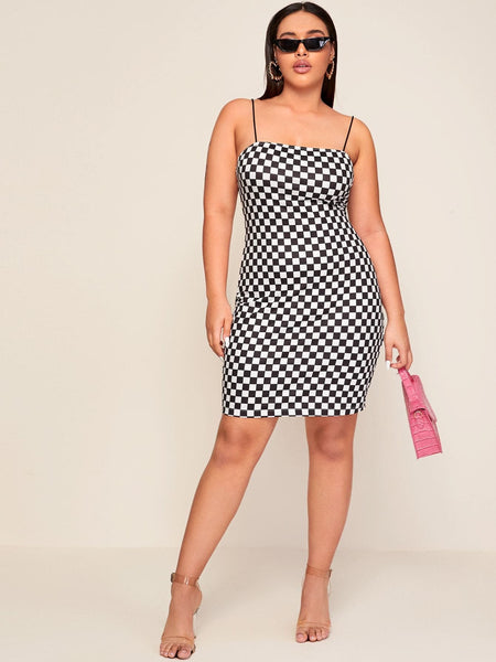 Plus Checked Fitted Cami Dress - FLJ CORPORATIONS
