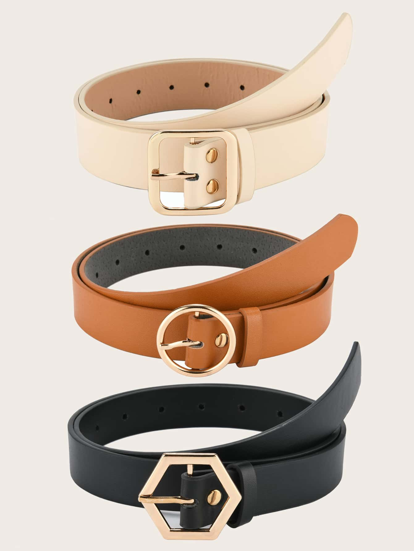 3 pieces Geometric Buckle Decor Solid Belt - FLJ CORPORATIONS