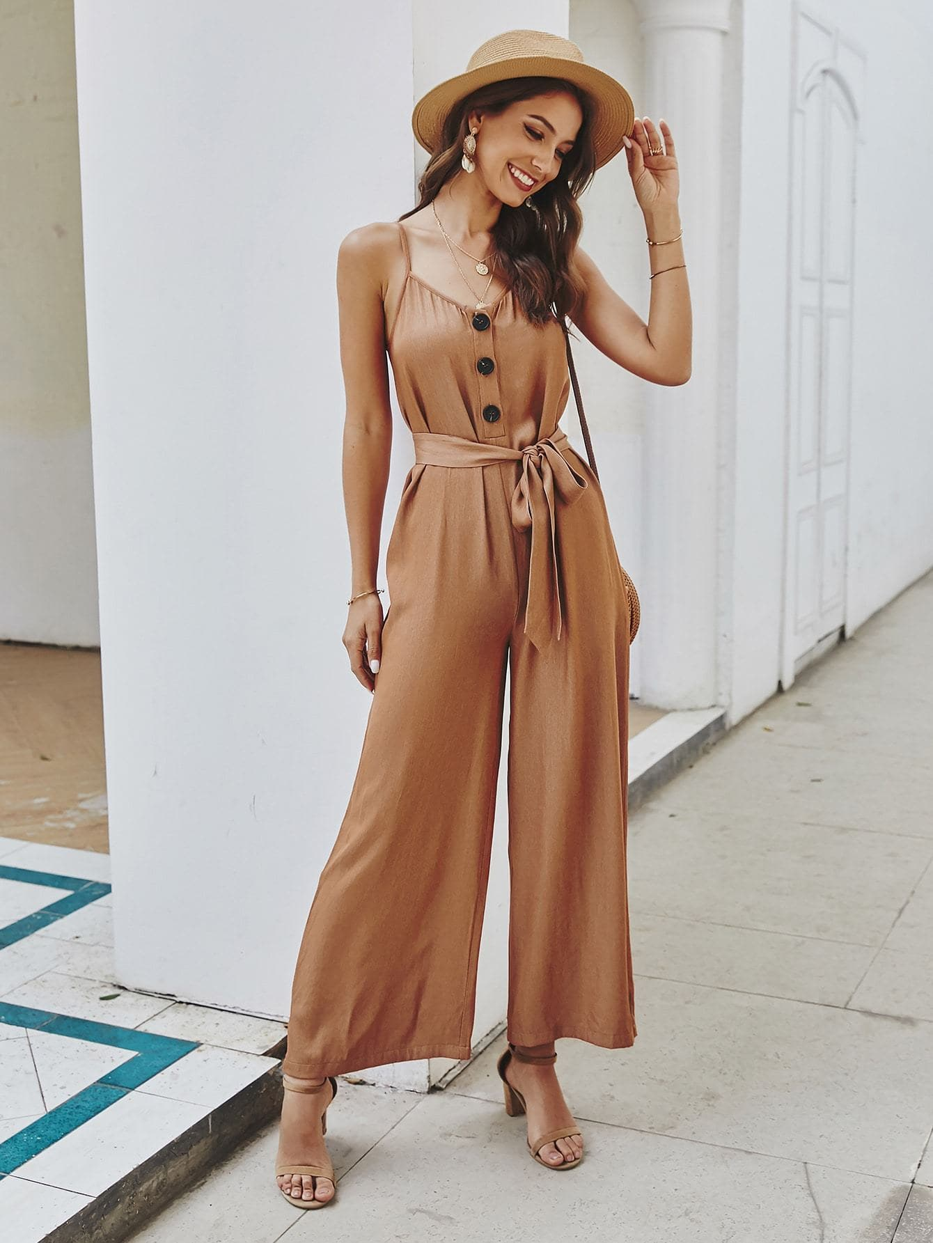 Button Front Wide Leg Belted Cami Jumpsuit - FLJ CORPORATIONS