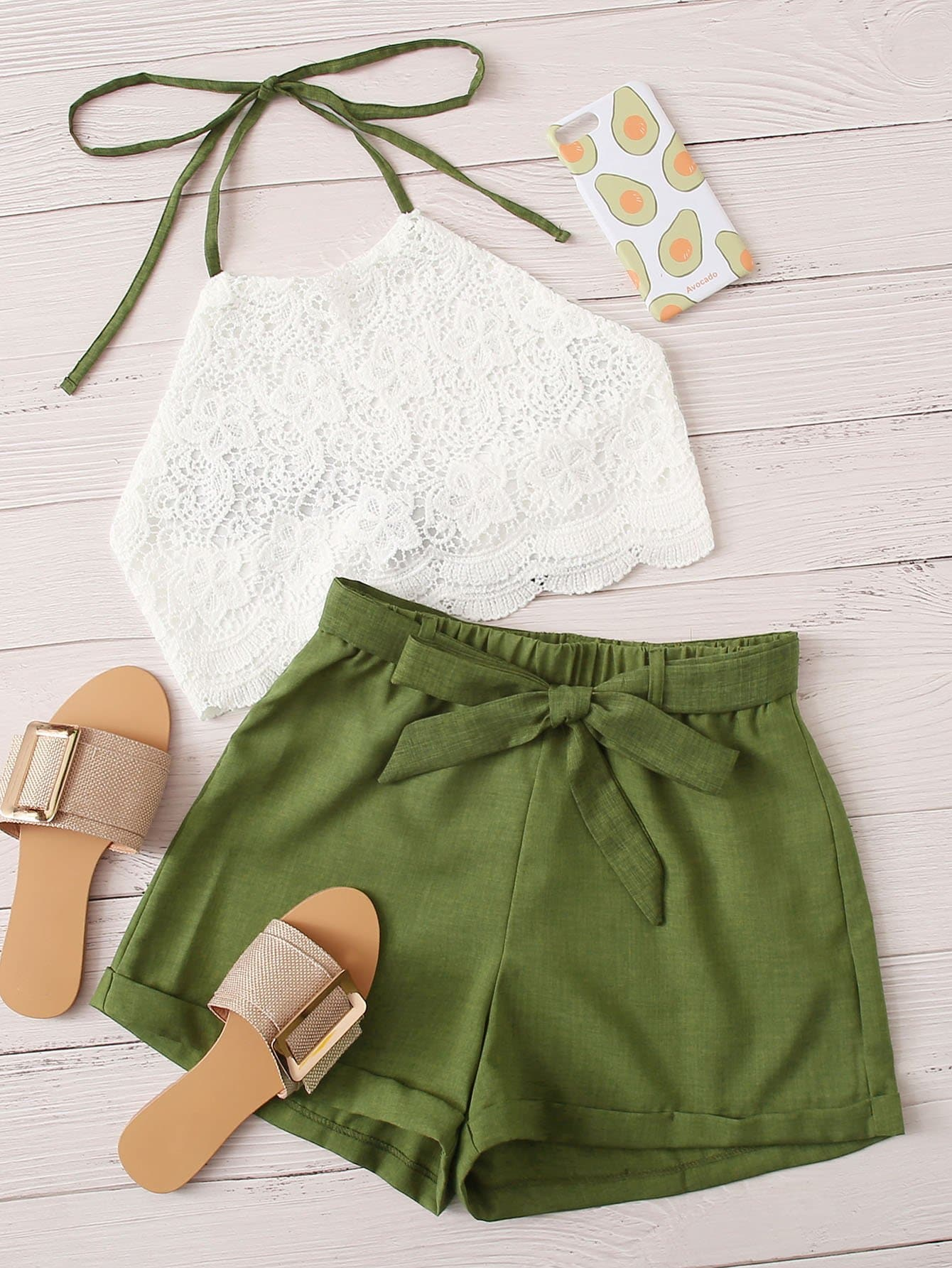 Guipure Lace Halter Top & Belted Shorts - FLJ CORPORATIONS
