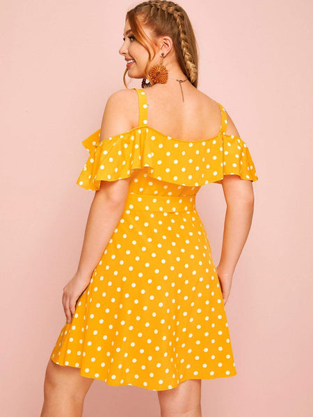 Plus Polka Dot Cold Shoulder Button Front Dress - FLJ CORPORATIONS