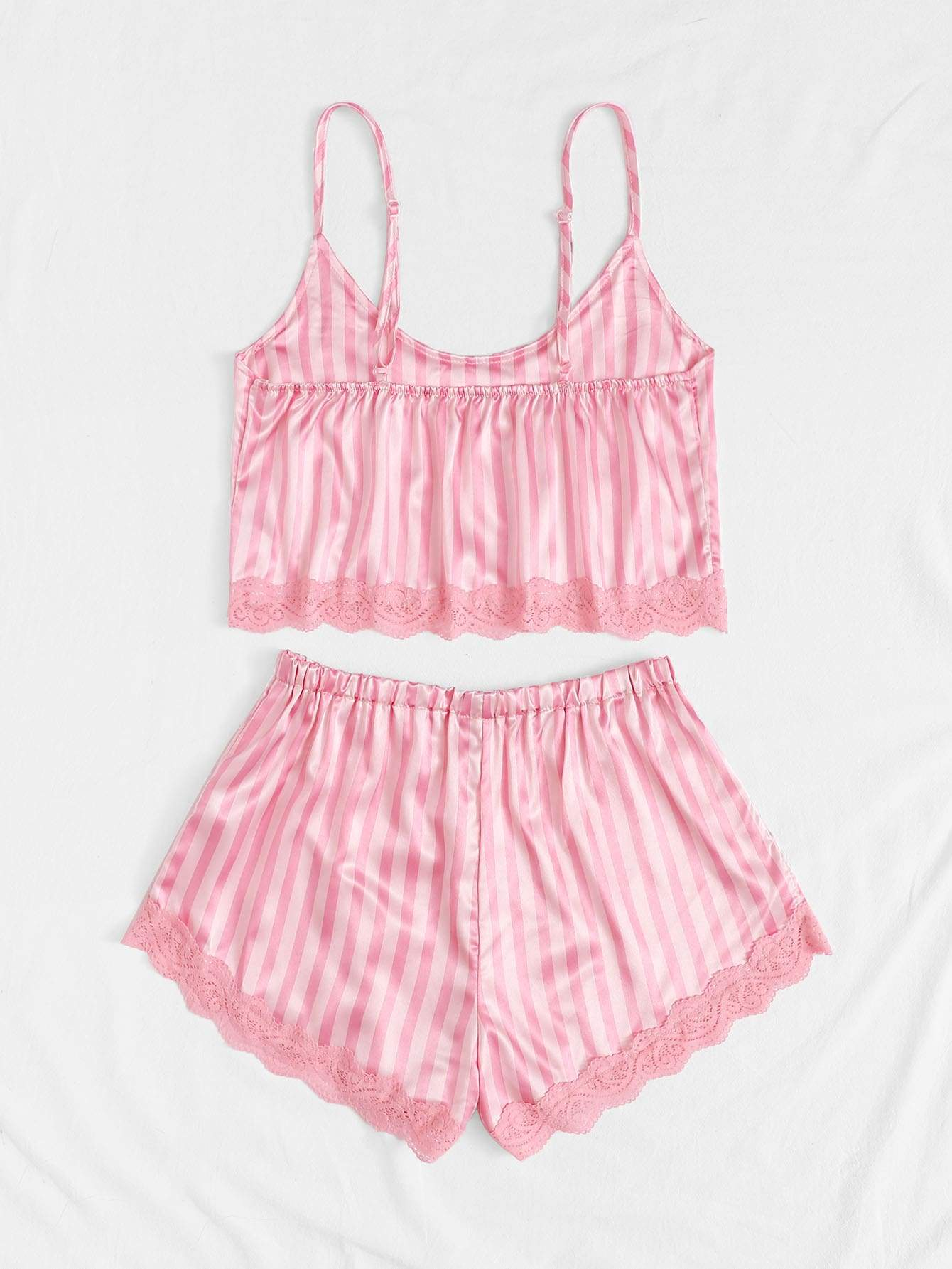 Striped Lace Trim Satin Cami With Shorts - FLJ CORPORATIONS