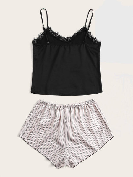 Satin Striped Lace Panel Cami Night Set - FLJ CORPORATIONS