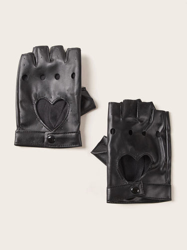 1pair Hollow Out Heart PU Leather Open Finger Gloves - FLJ CORPORATIONS
