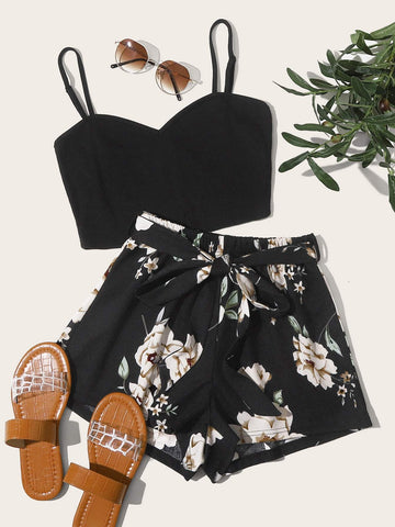 Solid Crop Cami Top & Floral Print Belted Shorts Set - FLJ CORPORATIONS