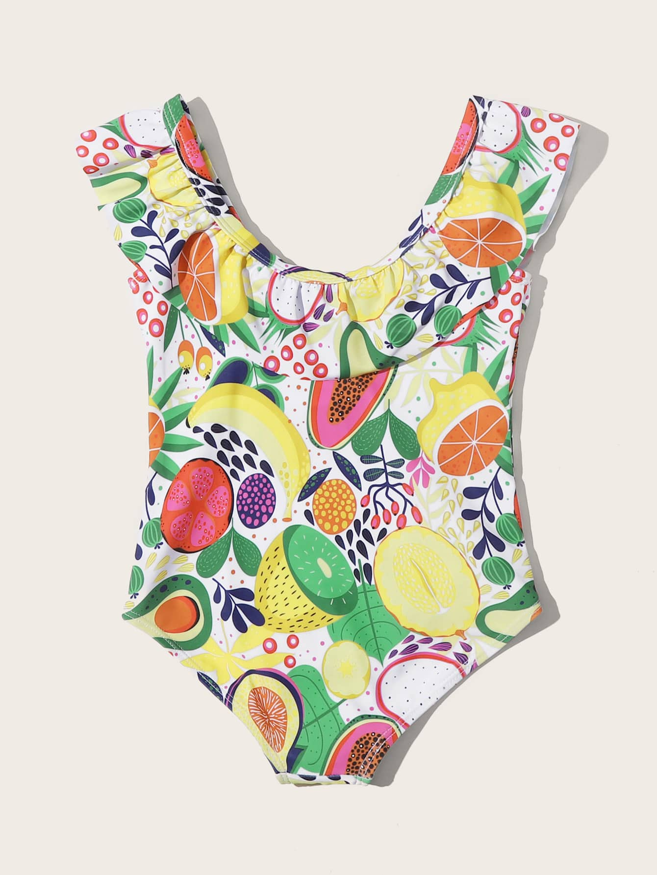 Toddler Girls Fruit Print Ruffle One Piece Swimsuit - FLJ CORPORATIONS