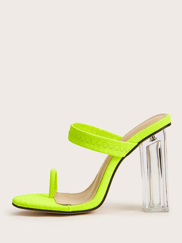 Neon Lime Toe Ring Chunky Heeled Mules - FLJ CORPORATIONS