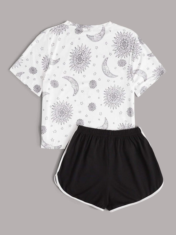 Galaxy Print Tee & Track Shorts Pajama Set - FLJ CORPORATIONS