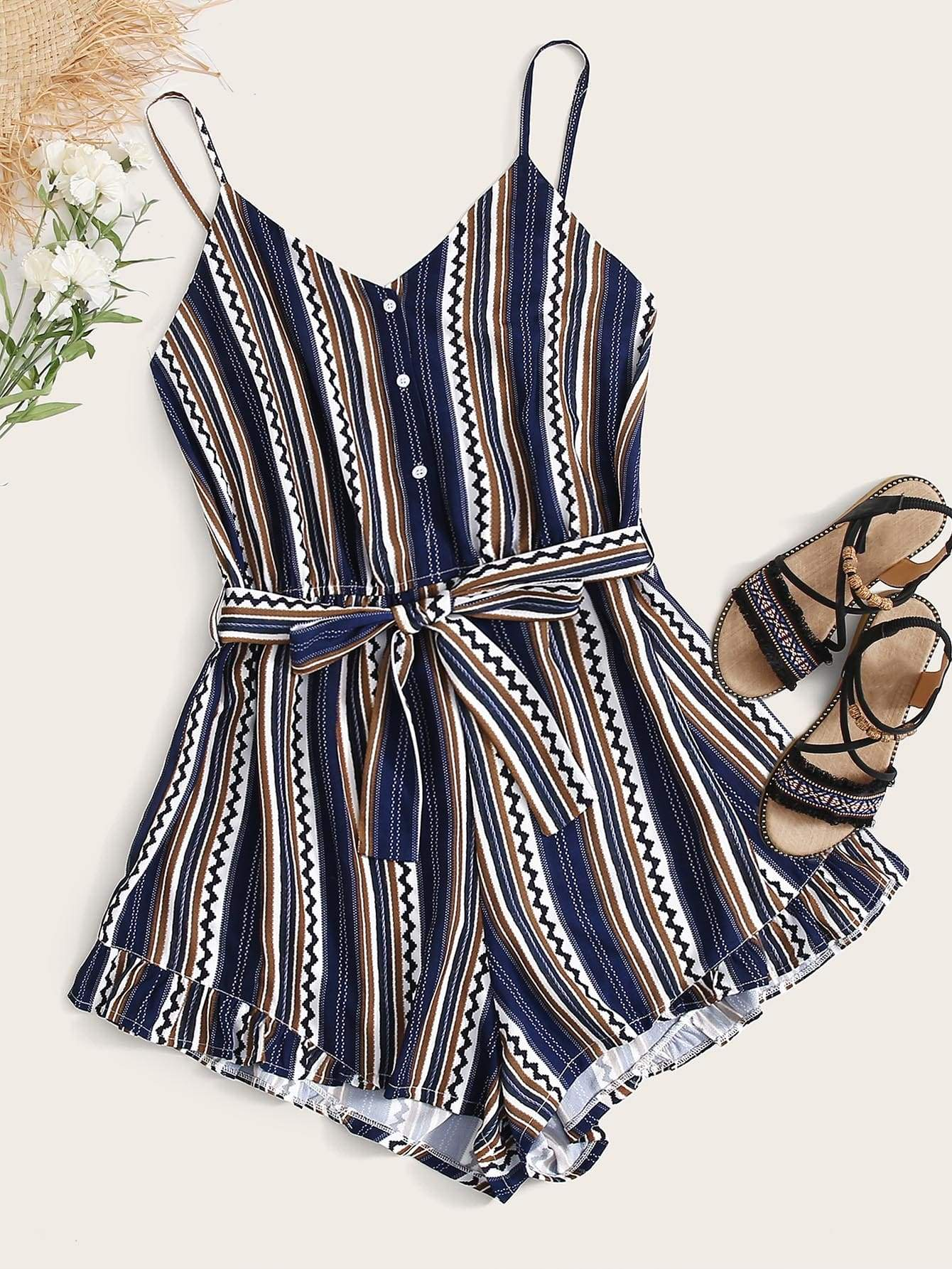 Plus Striped & Tribal Belted Cami Romper - FLJ CORPORATIONS