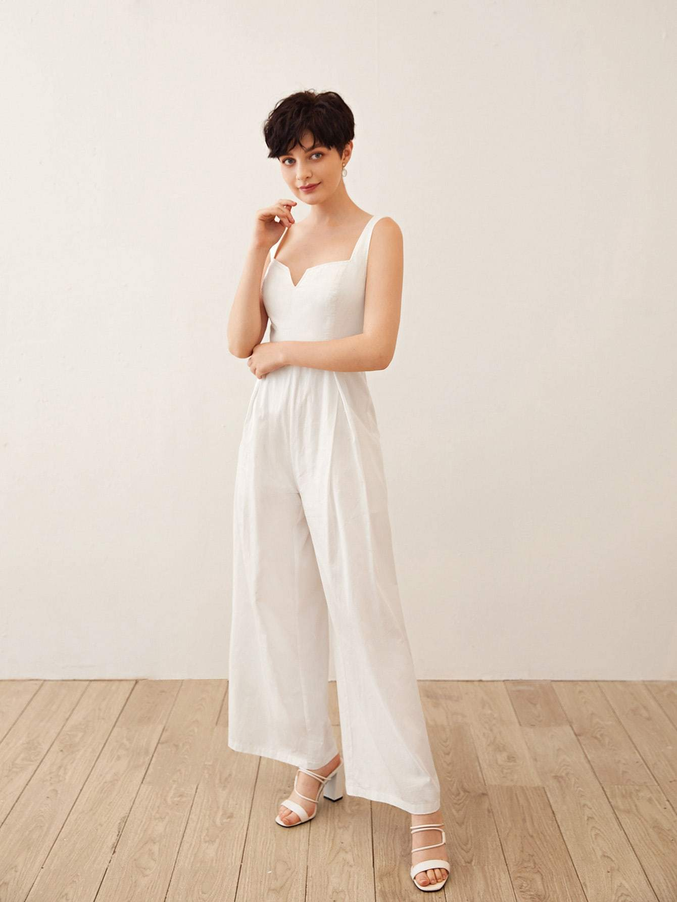 Notch Neck Fold Pleated Front Wide Leg Jumpsuit - FLJ CORPORATIONS